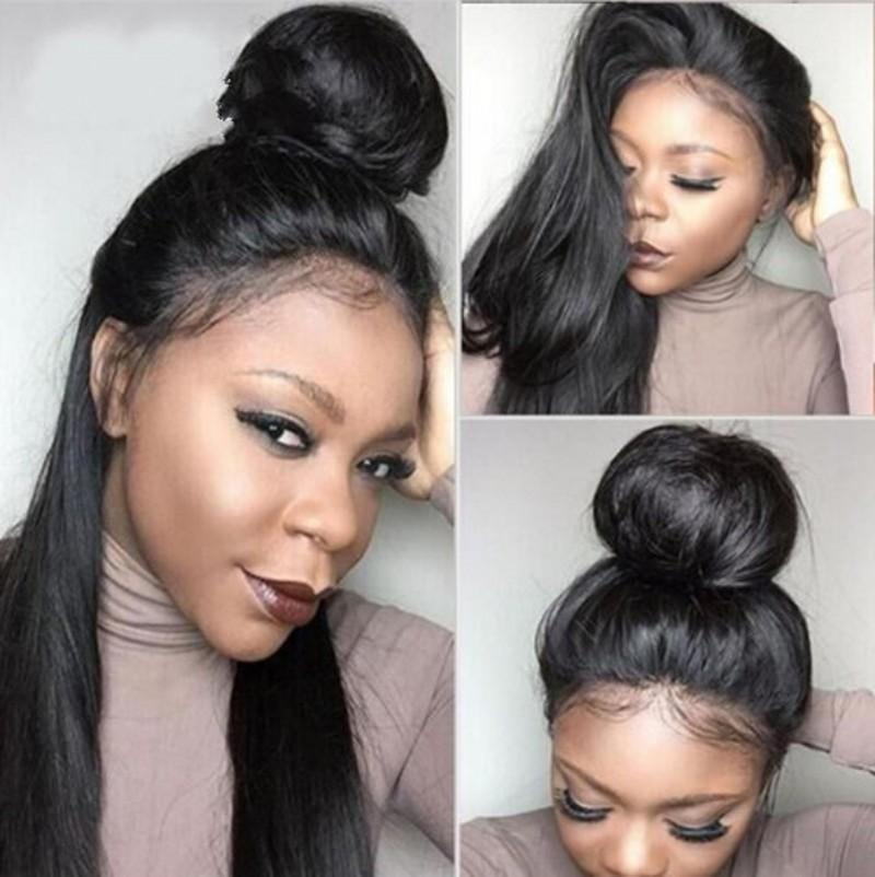 Brazilian Straight Hair Glueless Lace Front Wig for Black Women 130% Density Full Lace Human Hair Wig with Natural Hairline FDSHINE