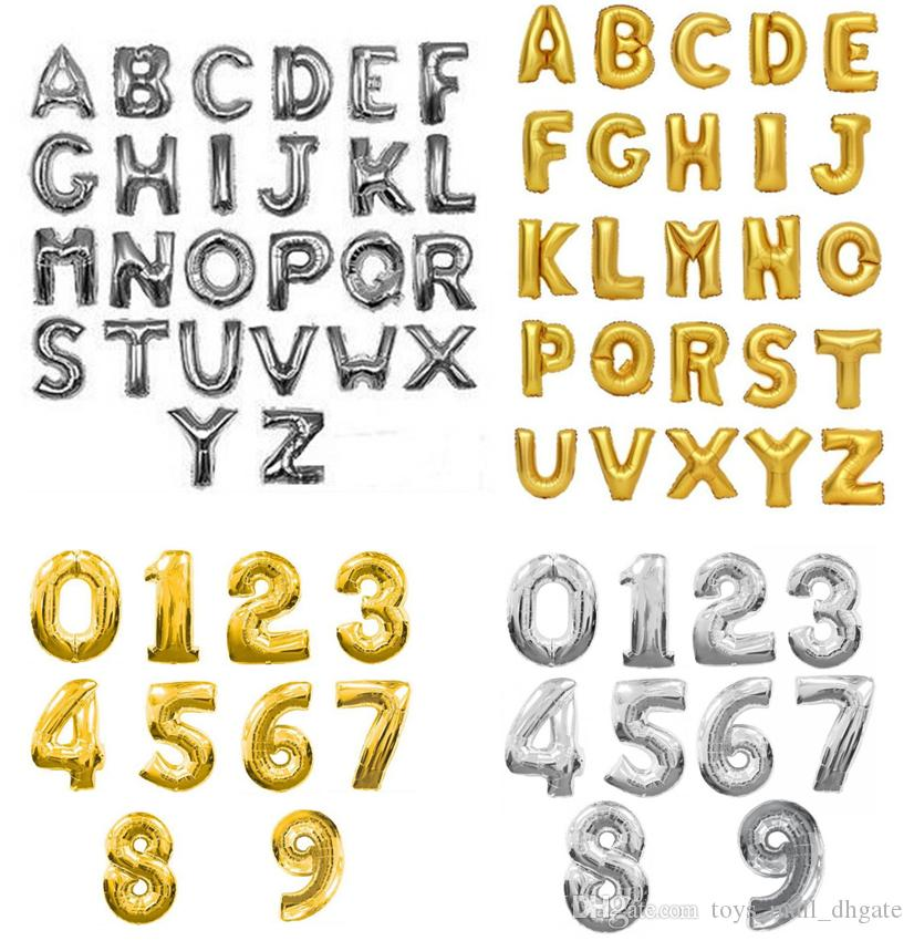 number balloons for birthdays and weddings silver and gold colours any number0-9