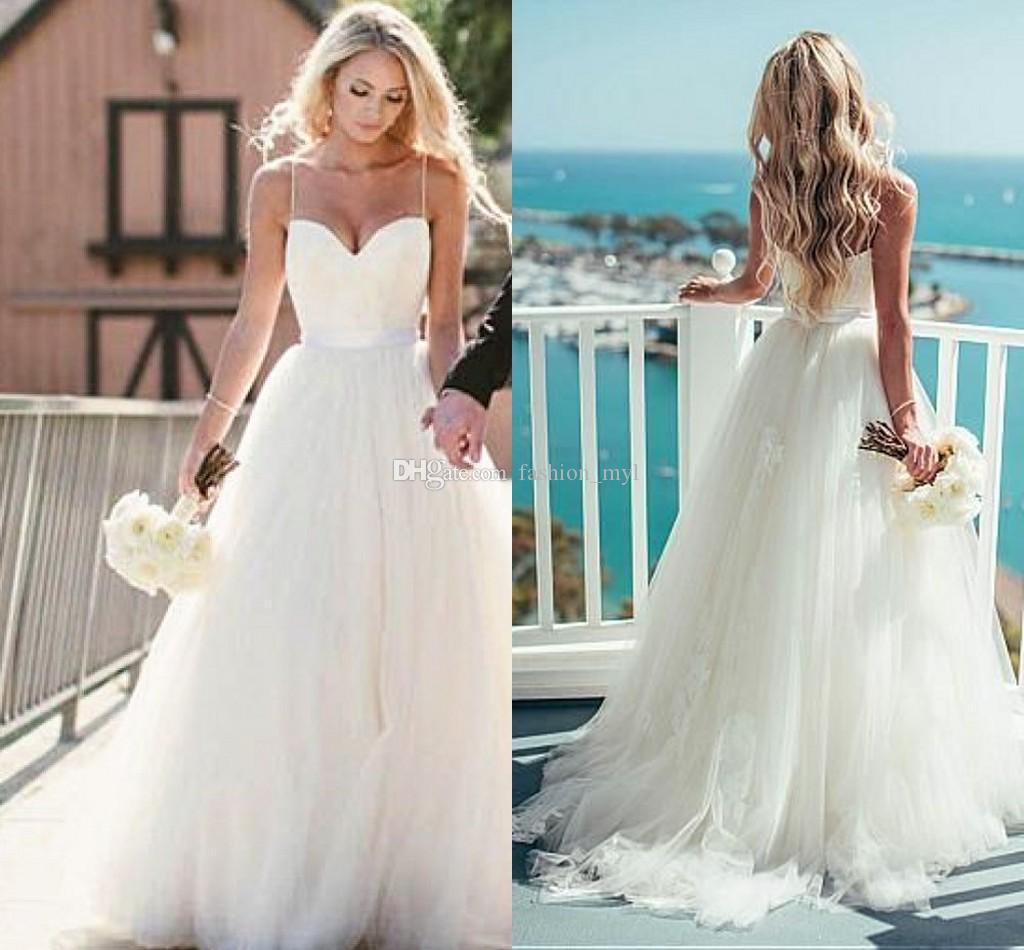 2017 Simple Design Tulle Wedding Dresses With Appliques Spaghetti ...