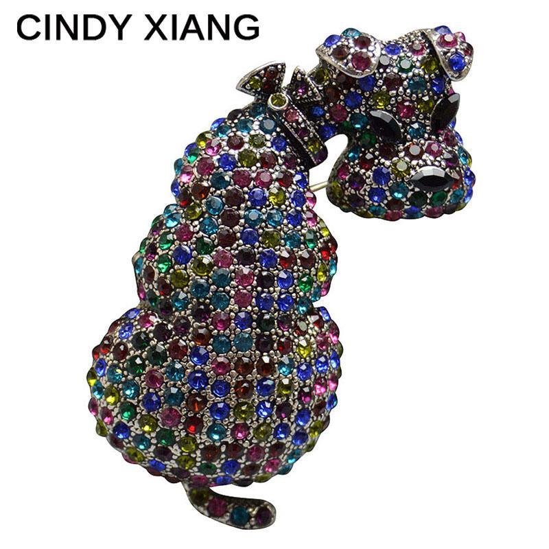CINDY XIANG New Rhinestone Dog Brooches for Women Rhinestone Animal Brooch Pins Cute Winter Dress Brooch Fashion Jewelry Gift