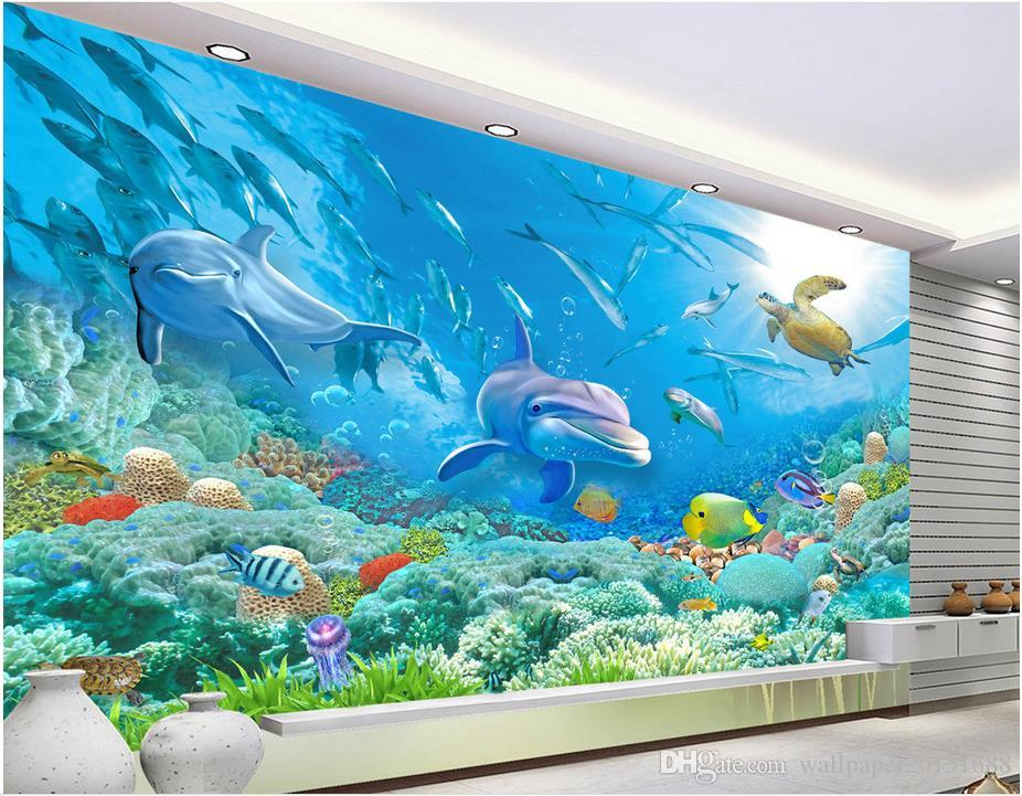 Underwater Wall Mural underwater world tv wall mural 3d wallpaper 3d wall papers for tv