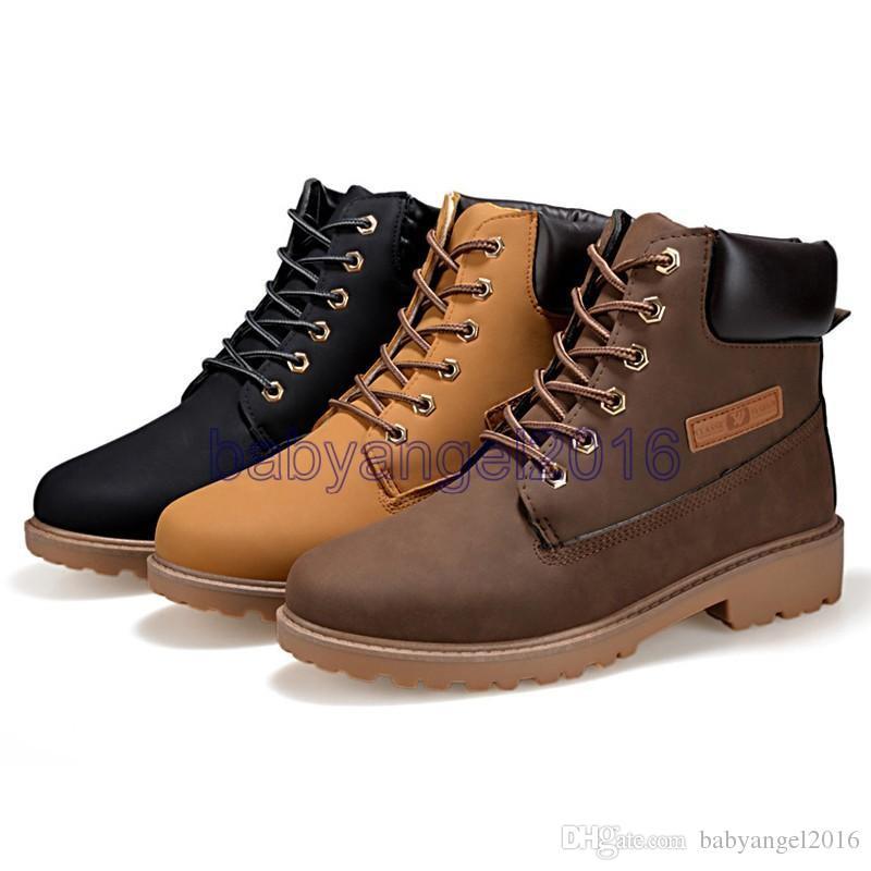 Arbeiten Sie neue Mann-Winter Lace-Up PU-lederne Schuhe plus Größe Mens-High-top beiläufige Mann-starke Schneeaufladungen um freies Verschiffen
