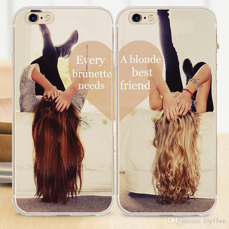 online retailer f5786 bffdc Best Friend BFF Blonde Brunette Sexy Girls Hard Cover Case For IPhone 7 6S  5S 6 Plus 5c 4s SE Cell Phone Cases Canada Cell Phone Pouches From Top1ben,  ...