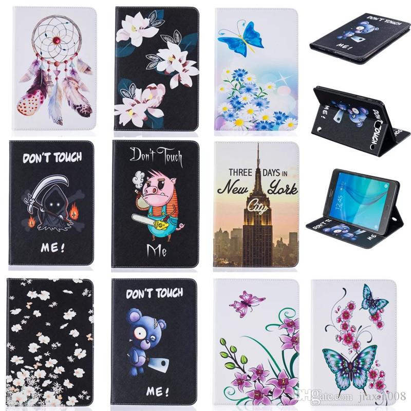 Tablet case For Samsung Galaxy Tab E 8.0 T377 Cover Wallet Stand Leather Case With Card Slots Painting Butterfly tower Blue Bear