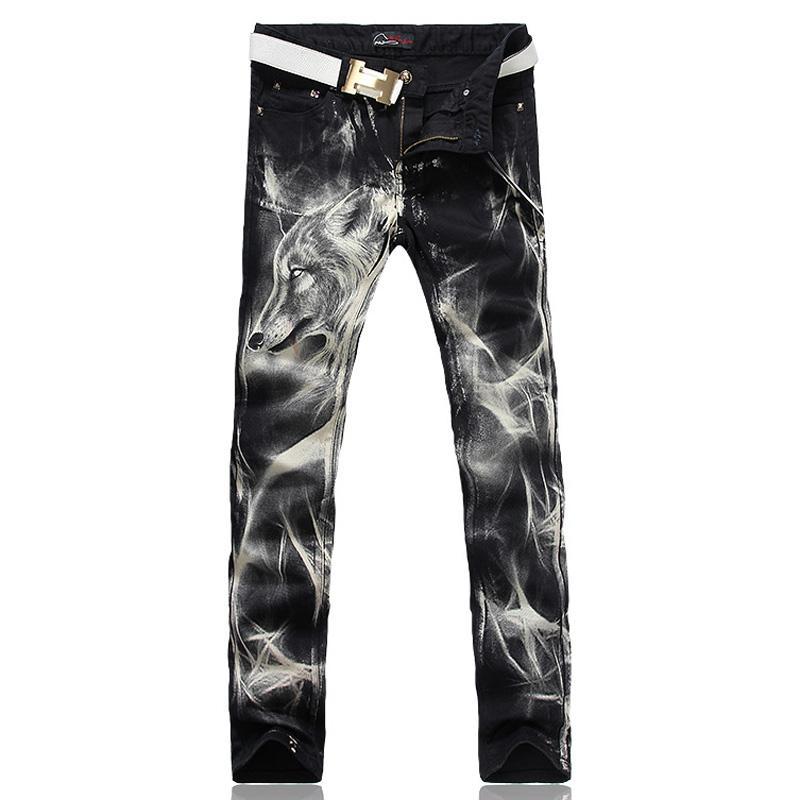 Toptan-erkek moda kurt baskı streç denim kot Ince siyah boyalı düz pantolon Uzun pantolon