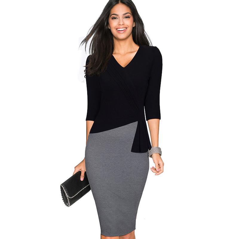 Kadınlar Casual Çalışma Ofis Kılıf Gömme Kalem Elbise Sonbahar Zarif Klas V Boyun Patchwork Bodycon Elbiseler EB333