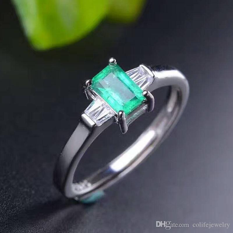 Elegant emerald ring simple design solid 925 silver emerald ring 4mm*6mm natural emerald romantic valentine day gift