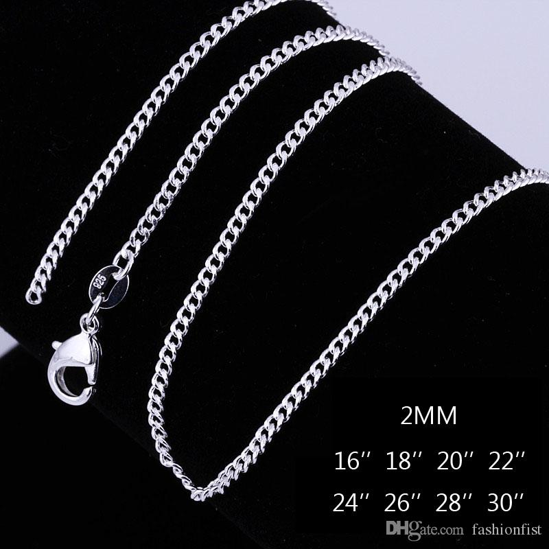 2mm 925 Sterling Silver Curb Link Chains Necklace 16~30inches Fashion Jewelry Findings Charm Necklace Jewellery Lobster Clasp DHL Ship