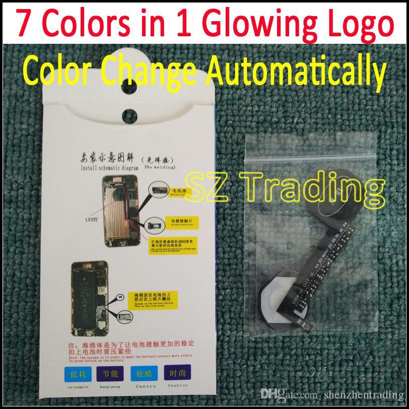 7 ألوان في 1 LED متوهجة شعار آيفون 6 6S 6 زائد 6S زائد مضيء LED تألق شعار المرن الألوان تتغير تلقائيا