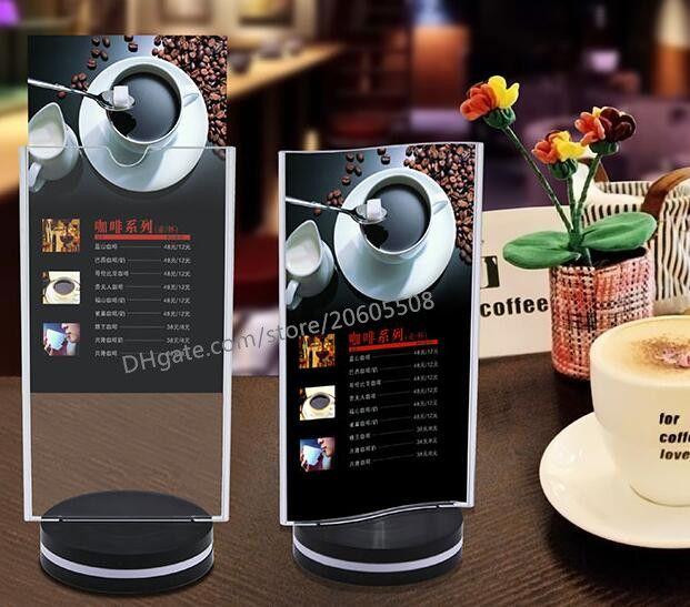 Free shipping fashion Rotatable acrylic restaurant menu card display stand Advertising tag sign card Rotate 360 ° Bar Desk card holder rack