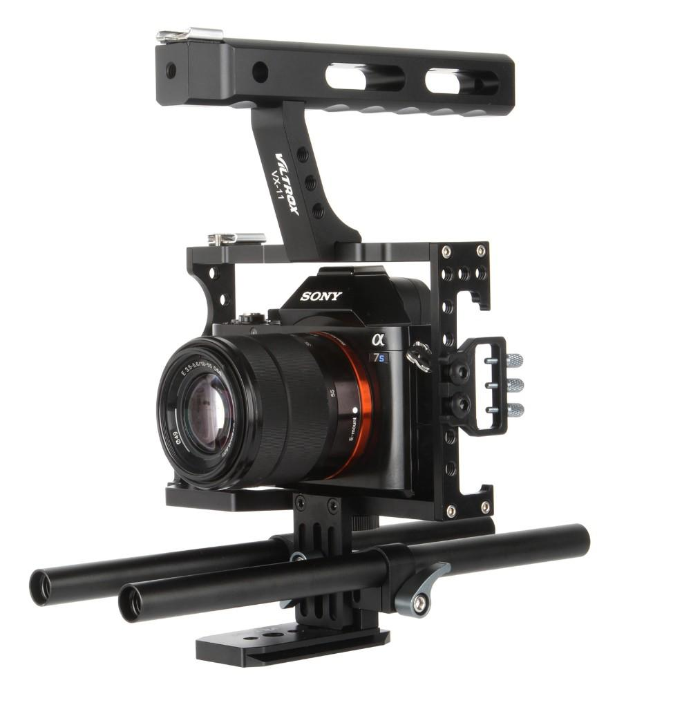 Freeshipping 15mm Rod Rig DSLR Camera Video Cage Kit Stabilizer+Top Handle Grip for Sony A7 II A7R A7S A6300 A6500 Panasonic GH4 GH3