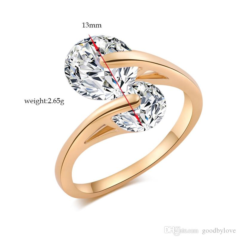 New Arrivals 18K Yellow Gold Plated Two Big Cubic Zirconia Cross Party Wedding Ring Fashion Jewelry Bijoux for Women 6-9 Size