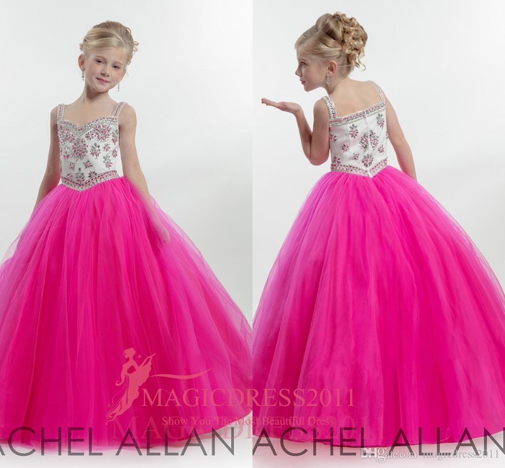 2019 rachel allan girl's pageant vestidos de baile vestido querida rosa de cristal vestidos de meninas de flor para o casamento até o chão crianças vestidos formais