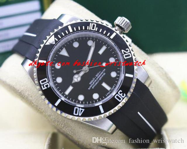 Fashion Top Quality 2017 Luxury 116610 Mens Rubber Bracelet Black Ceramic Bezel Black Dial 40MM Automatic Mechanical Men Watches New Arrival