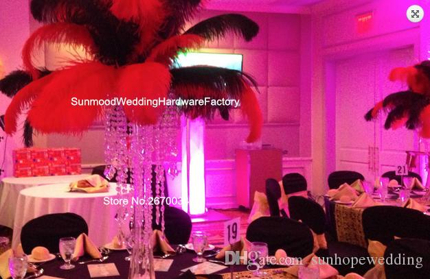 no feathers including )Hot sale wedding event acrylic crystal centerpiece for synthetic ostrich feathers