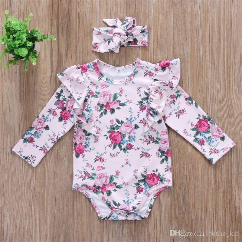 UK Newborn Baby Girl Floral Clothes Long Sleeve Jumpsuit Romper Bodysuit Outfits