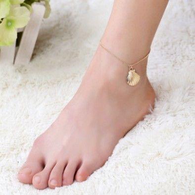Anklets Gold Shell Braccialetti per caviglia per ragazze Signore Gold Tone Anklet Catena a piedi Catene a piedi Barefoot Beach Anklets