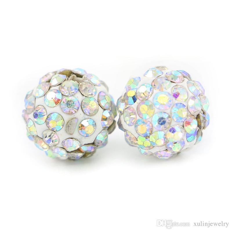 Shamballa Açacağı Disco Ball Kil Boncuk Yarım Delikli Polimer Kil 6 Satırlar Rhinestone Boncuk Yuvarlak Charms Takı Yapımı 100 adet / torba