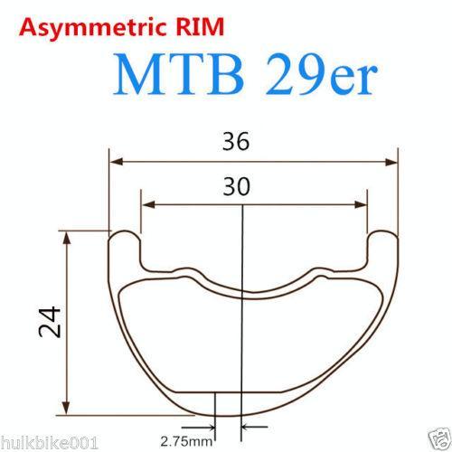 29er 36mm de largura mtb aro de carbono deslocamento de bicicleta de montanha jantes assimétrica design roda de bicicleta