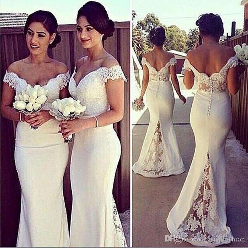Elegant Long Formal Dresses for Women 2017 Lace Off Shoulder Mermaid Sweep Train Corset Bridesmaid Dresses Covered Button Back Sweep Train