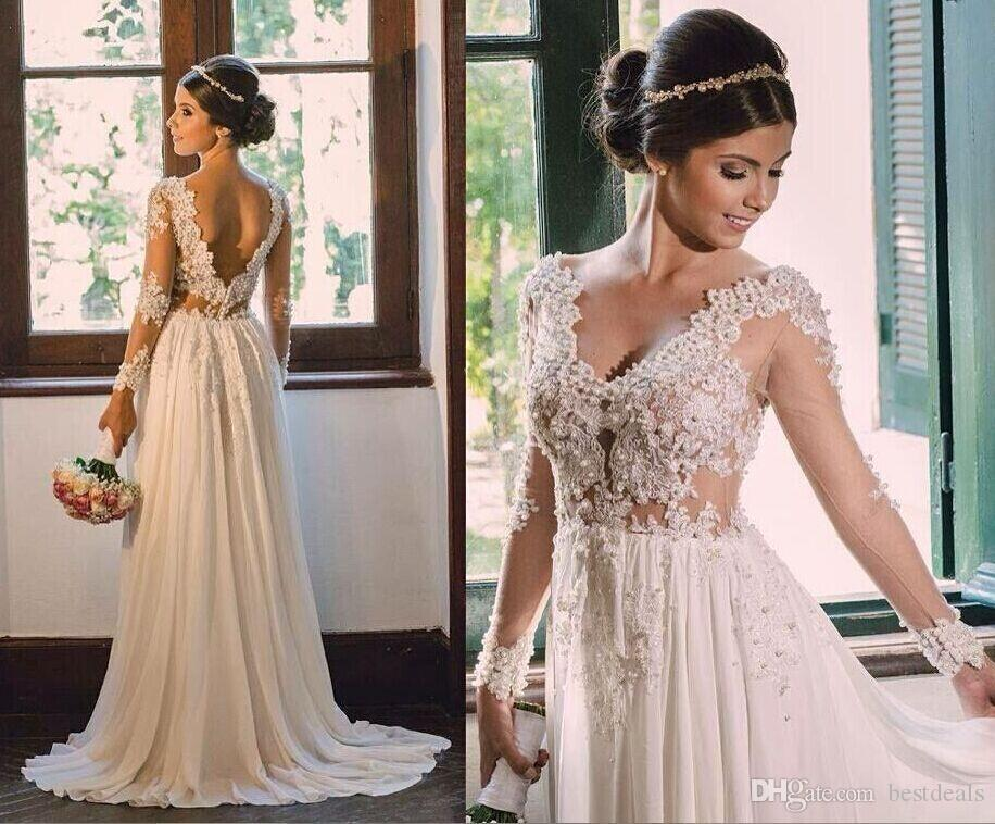 2020 Romantic Sheer Long Sleeves Bohemian Wedding Dresses V Neck Lace Appliqued Pearls Beach Bridal Dress Cheap Party Gowns