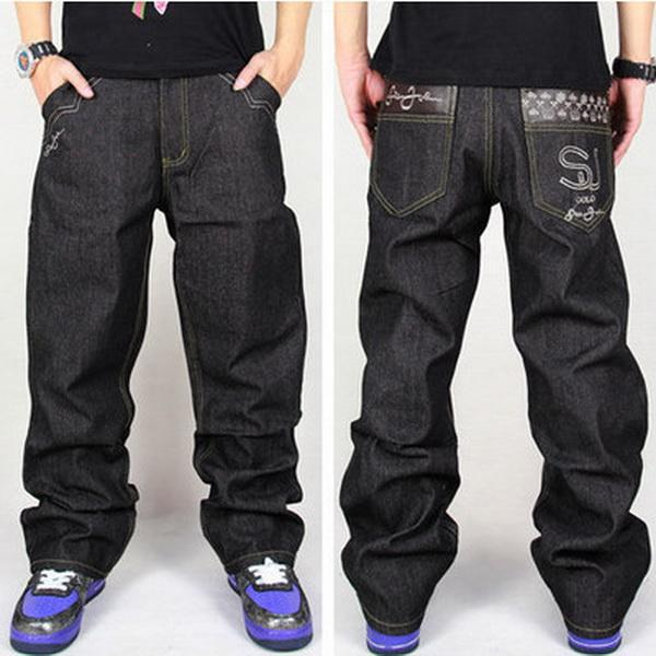 Atacado-Hot Men Baggy Jeans Tamanho Grande Mens Hip Hop Jeans Solto Moda Skate Baggy Calças De Brim Relaxado Para Homens Street Dance Harem Pants