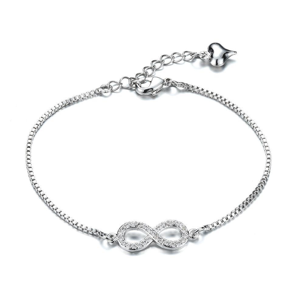 Ladies Heart Infinity Zircon Lobster Clasp Chain Bracelet Copper Platinum Jewelry Anchor Cross Fox Wrist Cuff Bracelets Xmas Gift for Women