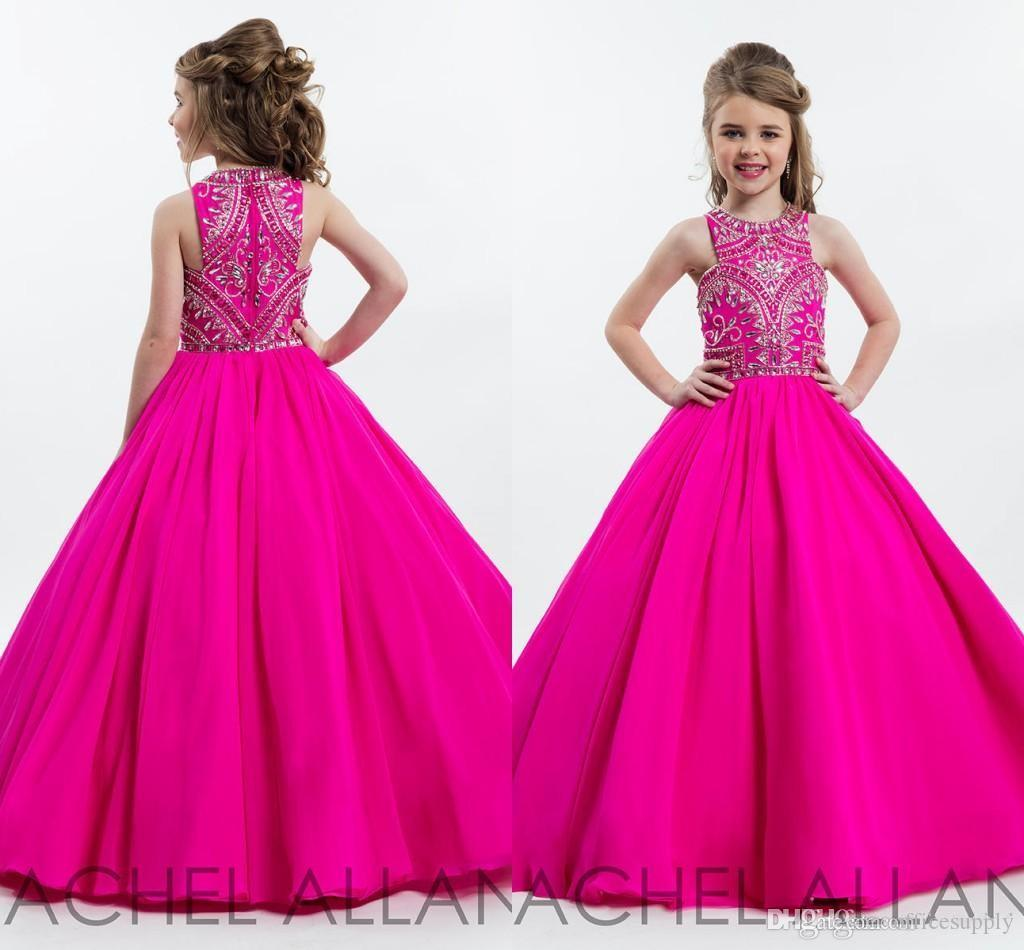 Hot fucsia Sparkly principessa Girls Pageant abiti per adolescenti perline strass Piano Lunghezza Fiore per bambini Abiti da cerimonia abiti da ballo