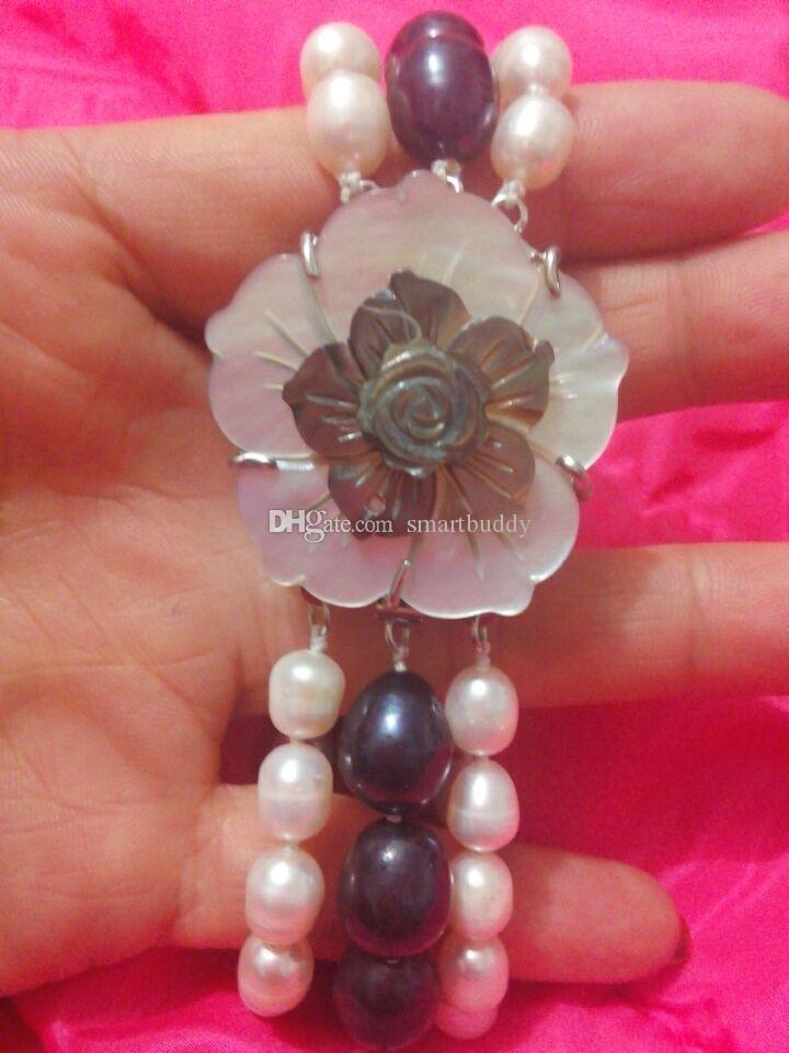 Fine perle bijoux véritable naturel 3rows uni blanc perles noires bracelet 7-8 pouces avec multi-couche fermoir fleur fermoir