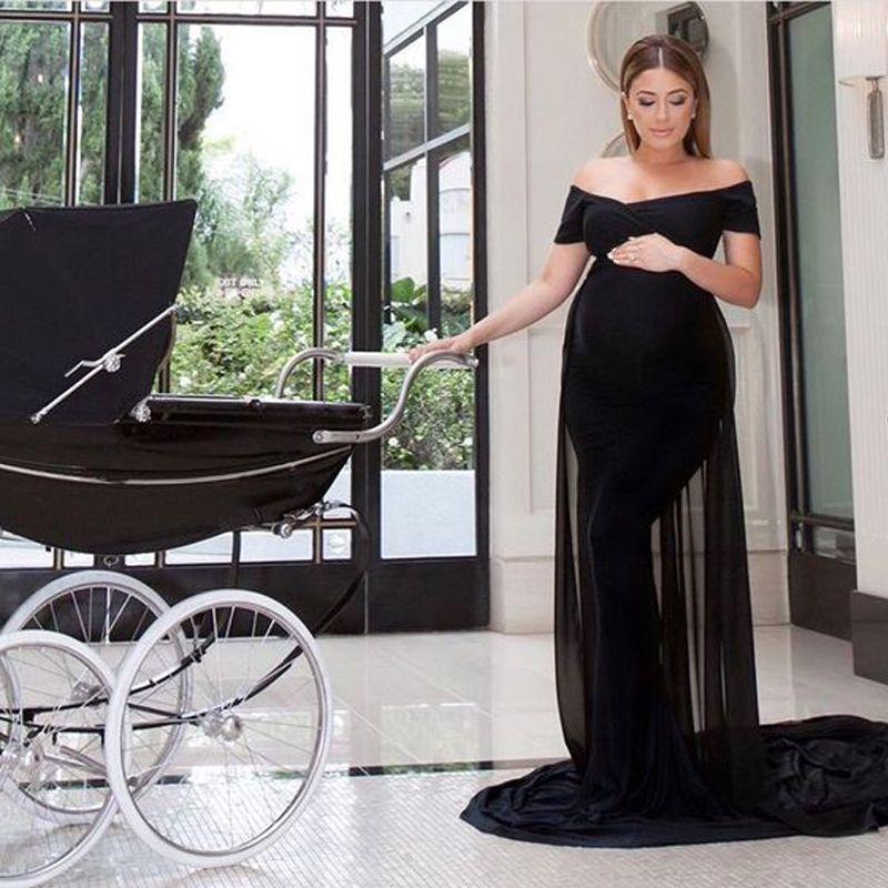 Elegante mutterschaft kleider ausgestattet lange formale schulterfrei schwarz schwanger roter teppich abendkleid spandex kleid chiffon zug nach maß