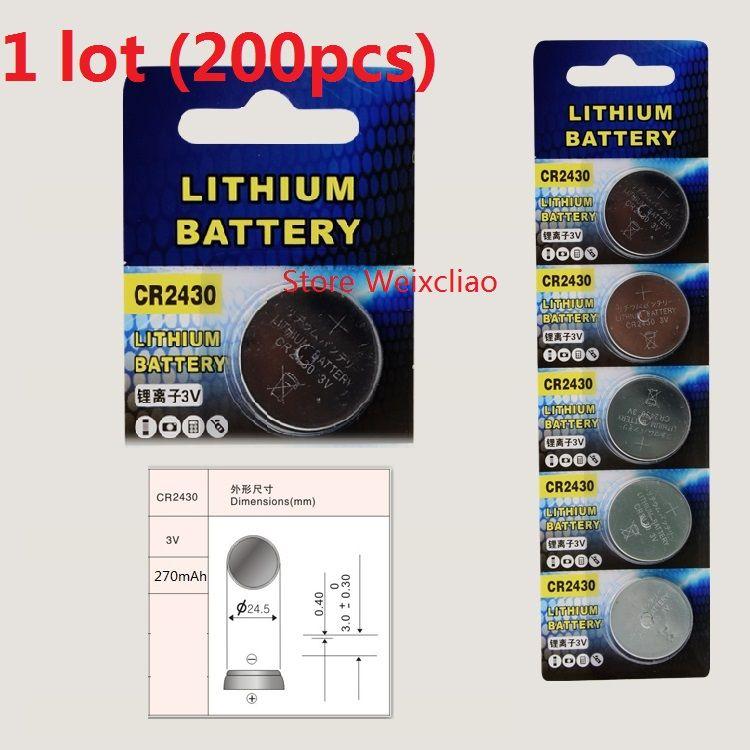 200pcs 1 개 CR2430 3V 리튬 이온 버튼 셀 배터리 CR 2430 리튬 이온 배터리 3 개 리튬 이온 배터리 무료 배송