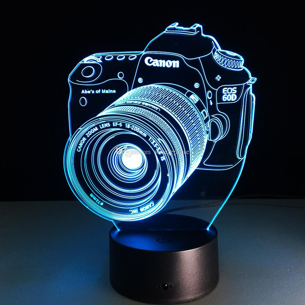 Camera 3D Optical Illusion Lamp Night Light DC 5V USB Charging 5th Battery Wholesale Dropshipping Free Shipping