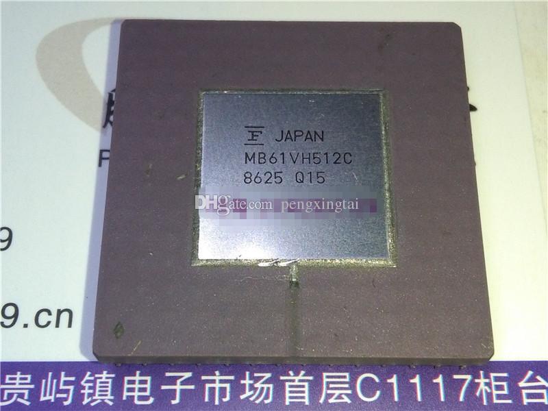 MB61VH512C. CMOS Gate Array IC, superficie de acero blanco. Paquete de cerámica PGA, Componentes electrónicos. Colección Vintage Chips