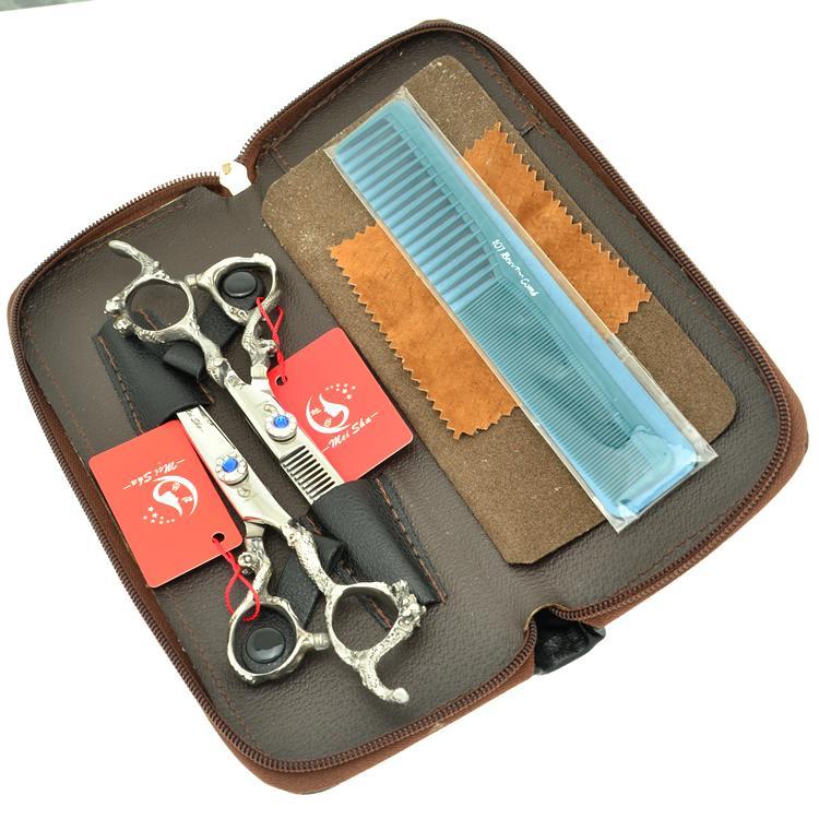 6.0 Polegada Meisha Dragão Lidar Com Barbeiro Tesoura Profissional Cabeleireiro Tesoura Kits de Corte De Cabelo Emagrecimento Shears JP440C, HA0280