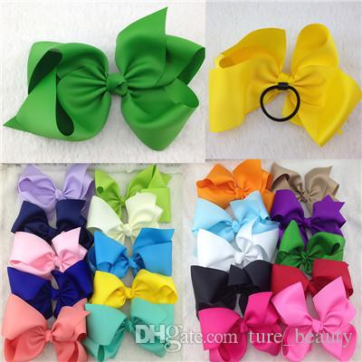 20pcs/lot 196 colors 8inch High Quality Boutique Ribbon Hair Ribbon Bows with Elastic Rubber Band for Hairband for Kids Hair Accessories