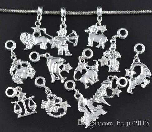 Mixed SP Zodiac Charms Dangle Beads Fit Bracelet Pendant Earrings DIY jewelry making Findings Accessiors 120pcs/lot