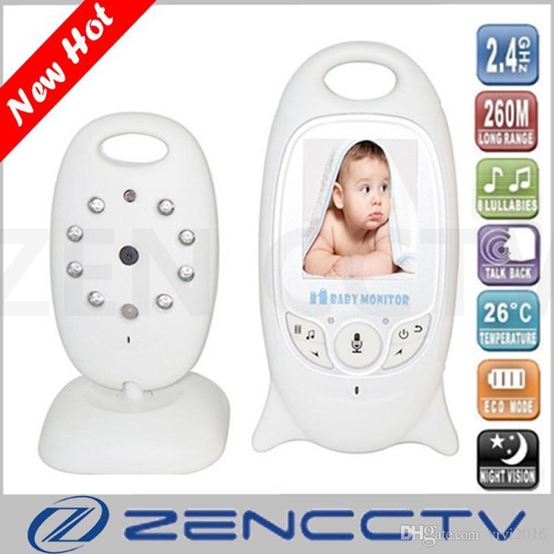 Moniteur de bébé sans fil vidéo couleur 2.0 pouces Nounou Baba Surveillance électronique de la température de l'interphone IR caméra avec 8 berceuses