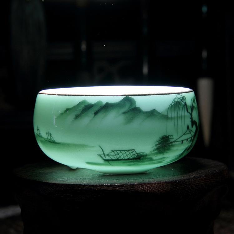 중국 Longquan 청자 도자기 중국 찻잔 골든 피쉬 60 ml 중국 차 주전자 청자 크래들 차 컵