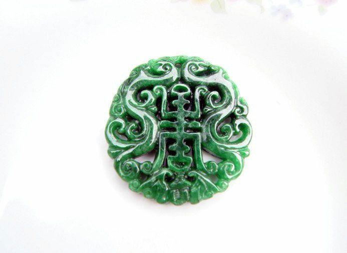 Натуральный зеленый нефритовый, чистый ручной двойной дракон благословения. (Очаровательный). Талисман - ожерелье пенда