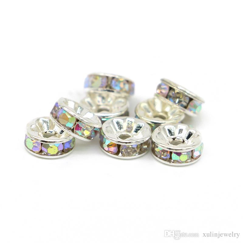 Tüm Boyut Rondelle Spacer Boncuk Gümüş Ton Kristal AB Çek Kristal Takı Yapımı Için, 100 adet / torba, IA001-05