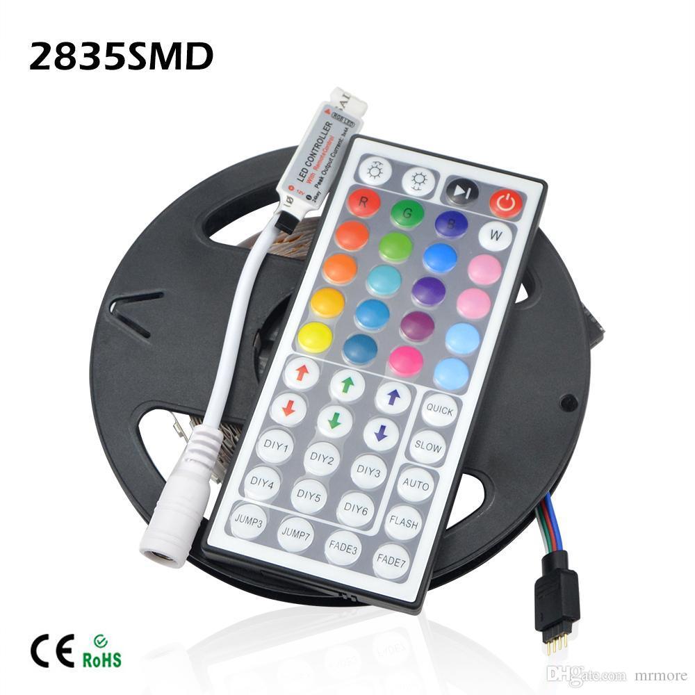 Wholesale-1 X High Luminous Flux 2835 5M RGB 300 LED Strip light String Ribbon More Bright 3528 3014 Lower Price 5050 5630 Decor lamp Tape