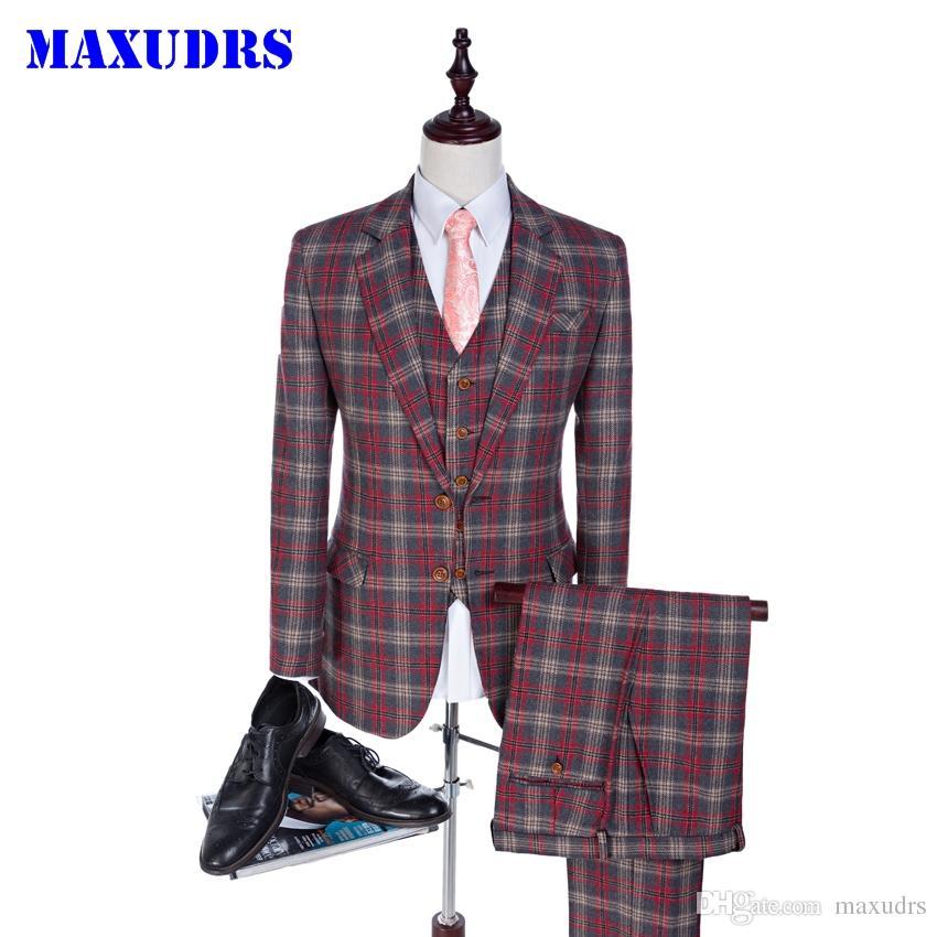 Tweed Suits Custom Made Erkekler Suit Glen Ekose Damat Smokin Terzi Sağdıç Sağdıç Suit Slim Fit Erkekler Için Düğün Suits 3 Parça