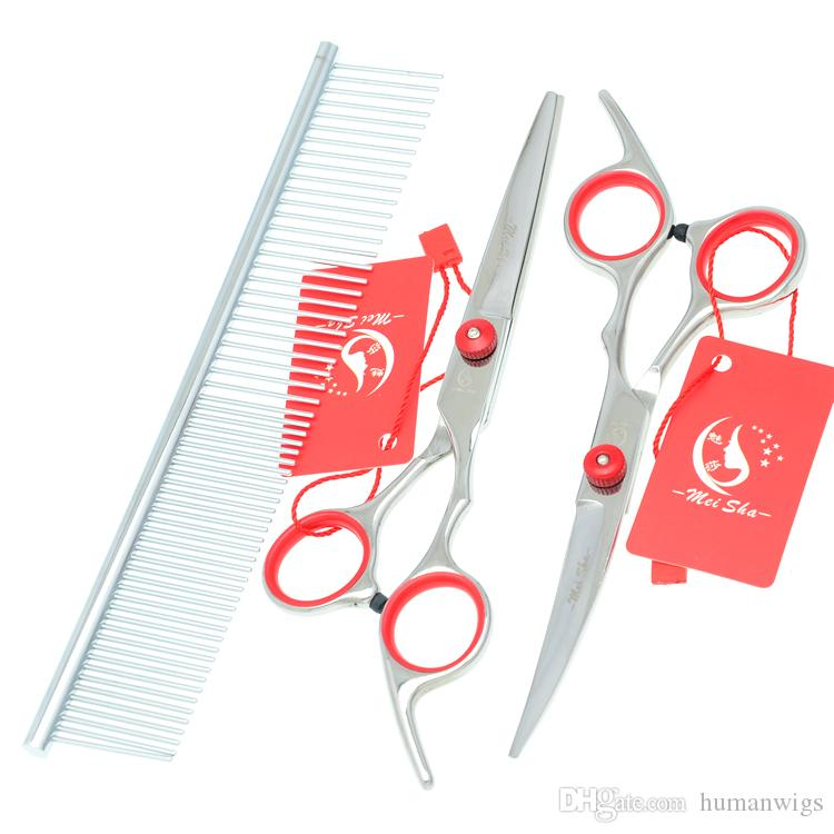 6.0Inch Meisha Stainless Steel Professional Pet Grooming Scissors Set Pet Scissors Cutting & Thinning & Curved Dog Shears Hot Sell,HB0001
