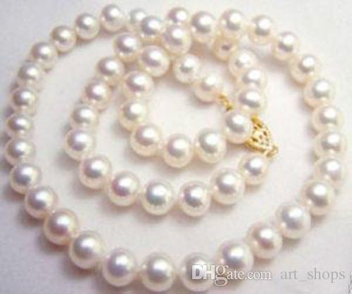 "Collier de perles de culture de 9-10mm blanc d'akoya 18 """