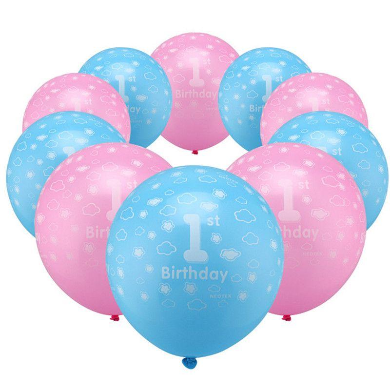 10 Stk 2nd Rosa /& Blau Wolken Alles Gute Zum Geburtstag Latex Ballon