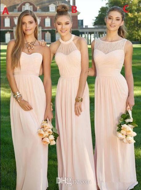 1b342c65ba Flesh Pink Chiffon Vestidos largos para dama de honor 3 estilos Longitud  del piso A-Line Pleats Elegante estilo sencillo Vestidos de baile para bodas  Venta ...
