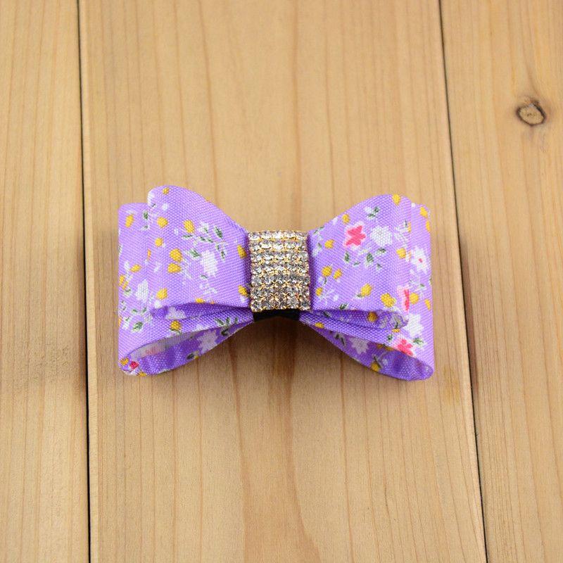 Hdj32 sólido 3d floral bowknot sem clipe headwear arcos de cetim de pvc duro com botão de strass 2 .5 polegadas meninas acessórios para o cabelo