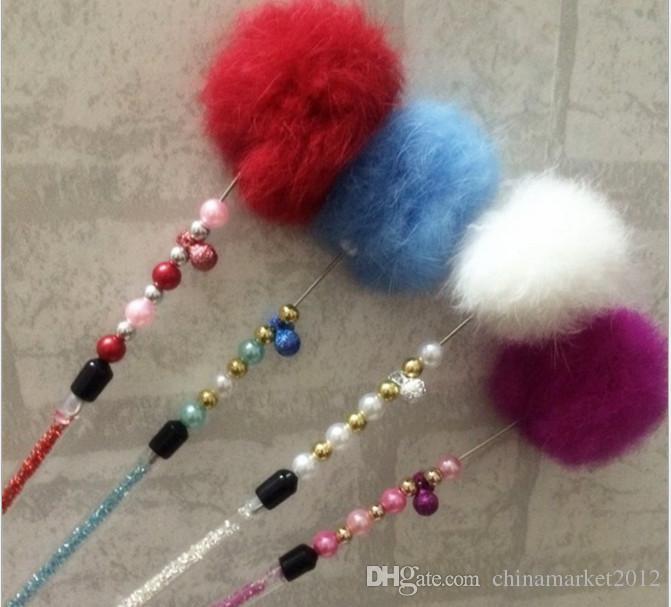 Free shipping real rabbit fur ball cat fishing stick pole colorful cat playing toys 30pcs/lot