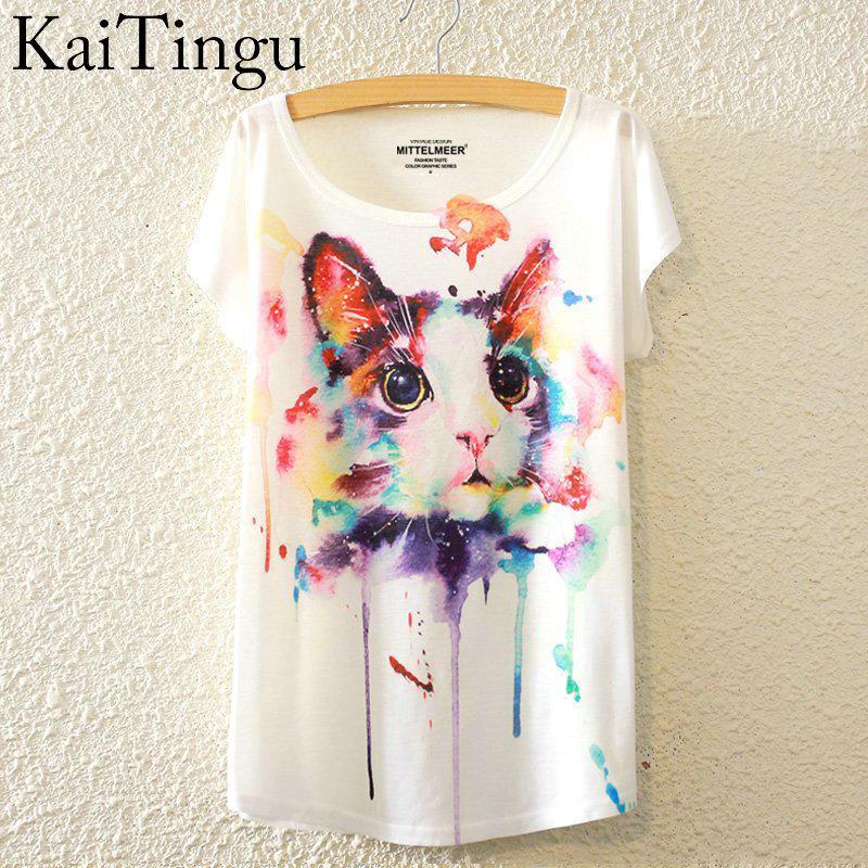 Gros-KaiTingu 2016 Brand New Mode Été Harajuku Animal Chat Imprimer Chemise O-Neck À Manches Courtes T Shirt Femmes Tops Blanc T-shirt
