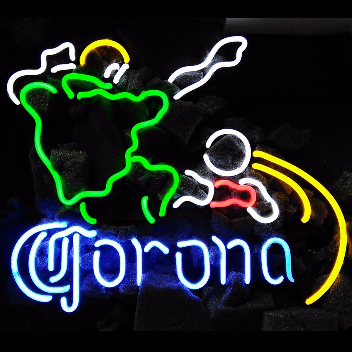 "17""x14"" Corona Football Beer Pub Bar Store Real Glass Neon Light Sign Tavern Display Wall Lighting"